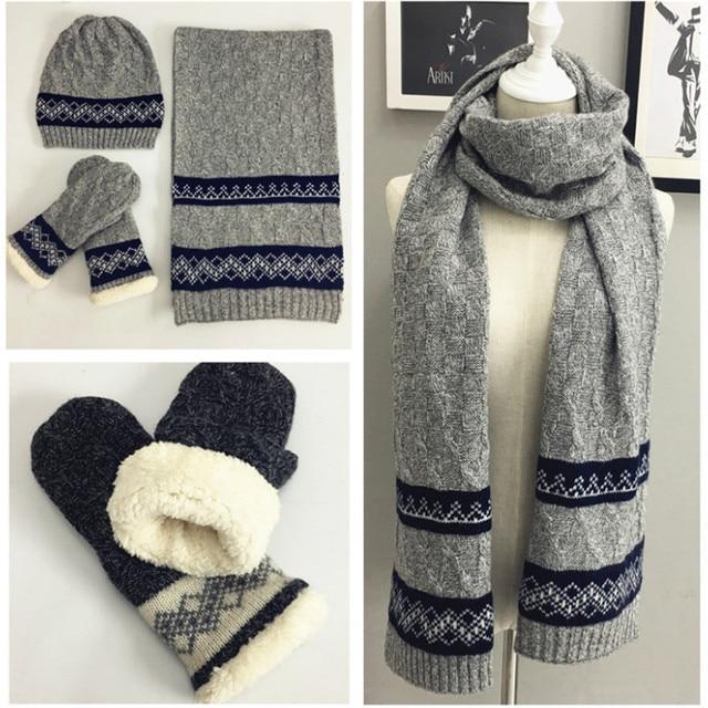 Invierno bufanda sombrero guante para hombres Crochet caliente ...