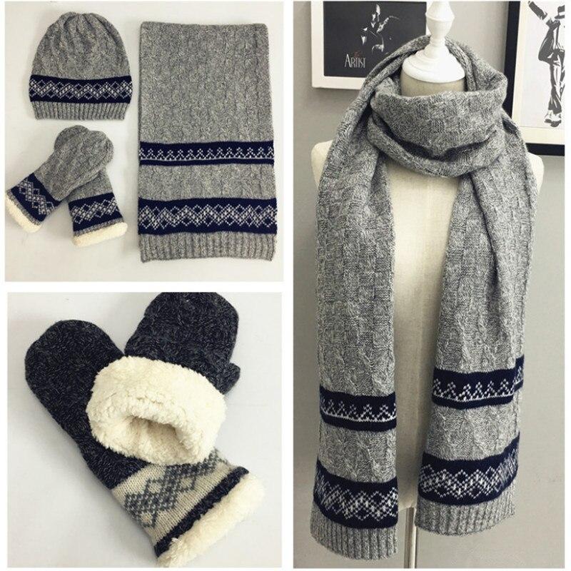 Tricoté hiver écharpe chapeau gant ensembles pour hommes Crochet chaud épais velours écharpes 3 pièces ensemble hommes accessoires de mode