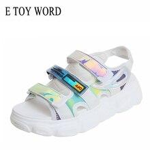 E TOY WORD 2019 New Women Sandals Platform Flat Summer Shoes Ladies Fashion Colorful Sequins Sandals Female Roman Sandals sexy sequins and platform design sandals for women