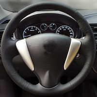 Freies Verschiffen Hohe Qualität rindsleder Top Schicht Leder handgemachte Nähen lenkrad abdeckungen schützen Für Nissan Sunny LIVINA
