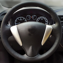 hot deal buy free shipping high quality cowhide top layer leather handmade sewing steering wheel covers protect for nissan sunny livina