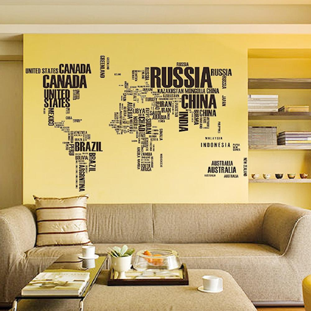 Motto English World Map Stickers Removable Diy Vinyl Quote Wall ...