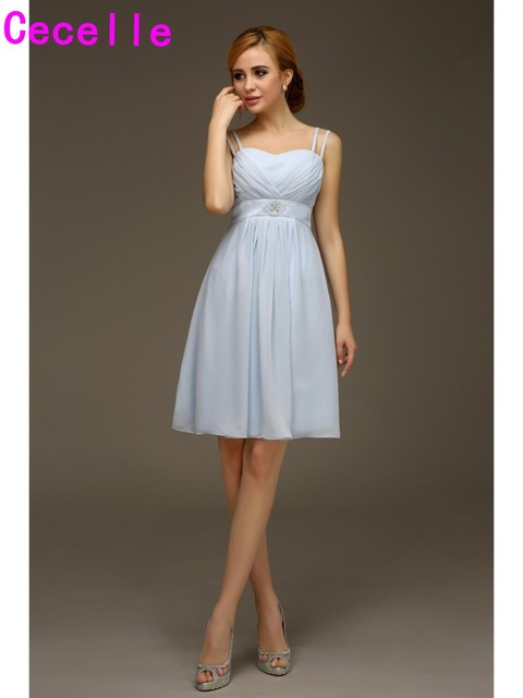 Summer Casual Chiffon Short Light Blue Bridesmaids Dreses With ...