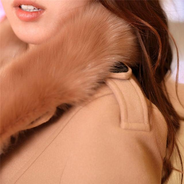 #Women Big Fur Collar #Jackets Winter Long Woolen Blend #Coats Outerwear Cotton Blend Jacket #fashion #boygrl 4