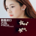 Titanium Steel star wedding jewelry korean trendy earrings bridal fashion rhinestone elegant natural with stone for women  E349