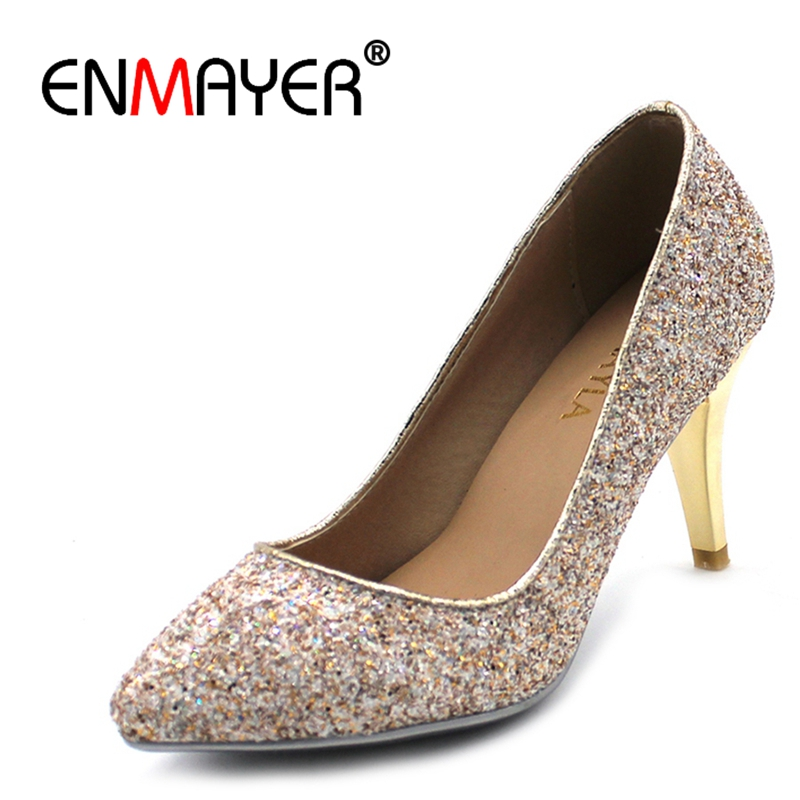 ENMAYER Glitter High Heels Lady Shoes Women Pointed Toe Pumps Sexy Bling Party Wedding Shoes Woman Green White Gold Colors CR696 new 2018 women pumps party bling high heels gold silver fashion glitter heels women shoes sexy wedding shoes