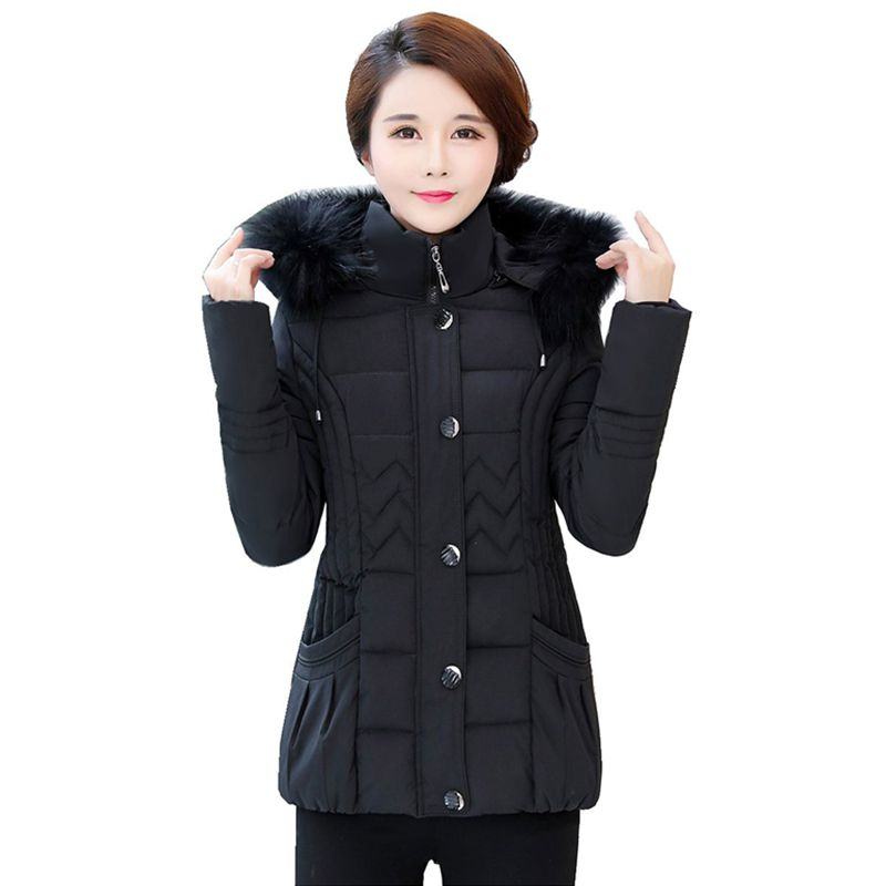 5313678c9b L-4XL Hot 2018 Winter Women New Fashion Leisure Middle-aged And Old  Paragraph Festive Wedding Outfit Cotton-padded Clothes Coat