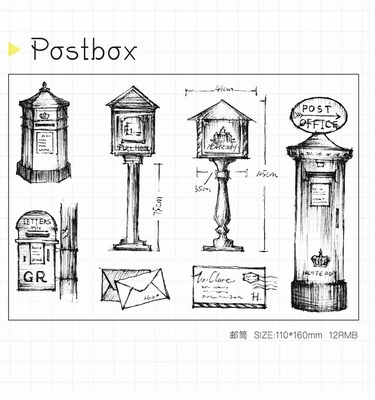 WYF928 Postbox Scrapbook DIY Photo Album Cards Transparent Acrylic Silicone Rubber Clear Stamps Sheet  11x16cm wyf1017 scrapbook diy photo album cards transparent silicone rubber clear stamp 11x16cm camera
