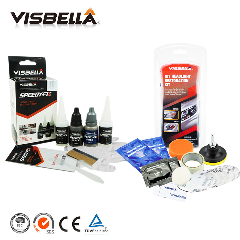Visbella 7 zweite schnell Trockenen bindung Schnelle Reparatur Kleber Verstärken Klebstoff und Scheinwerfer Restaurierung Kit Reparatur Bewölkten Scheinwerfer