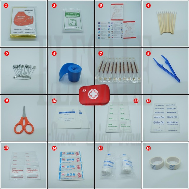 17 Items/93pcs Portable Travel First Aid Kits For Home Outdoor Sports Emergency Kit Emergency Medical EVA Bag Emergency Blanket