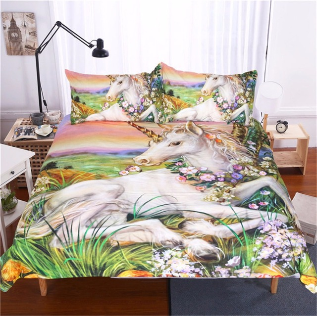 2017 Unicorn Animal Bedding Bed Sets Queen King Twin Size 3pcs Set Pattern  Duvet Cover King