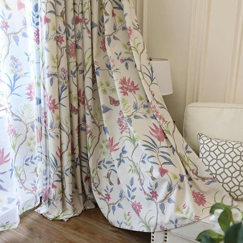 Large Flower-bird Plant with Vines In American Country Print Curtains for Living Dining Room Bedroom.