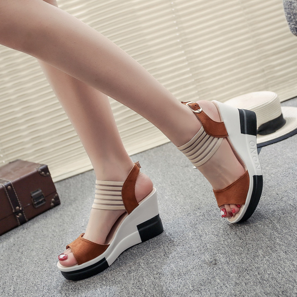 new fashion Wedge women Shoes Casual Belt Buckle High Heel Shoes Fish Mouth Sandals 2019 Innrech Market.com