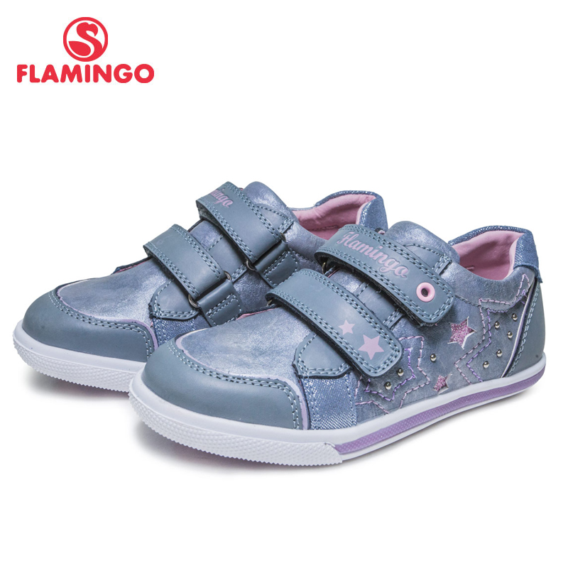 FLAMINGO Print Spring Genuine Leather Breathable Hook& Loop Outdoor Sneakers For Girl Size 27-32 Free Shipping 81P-XY-0651