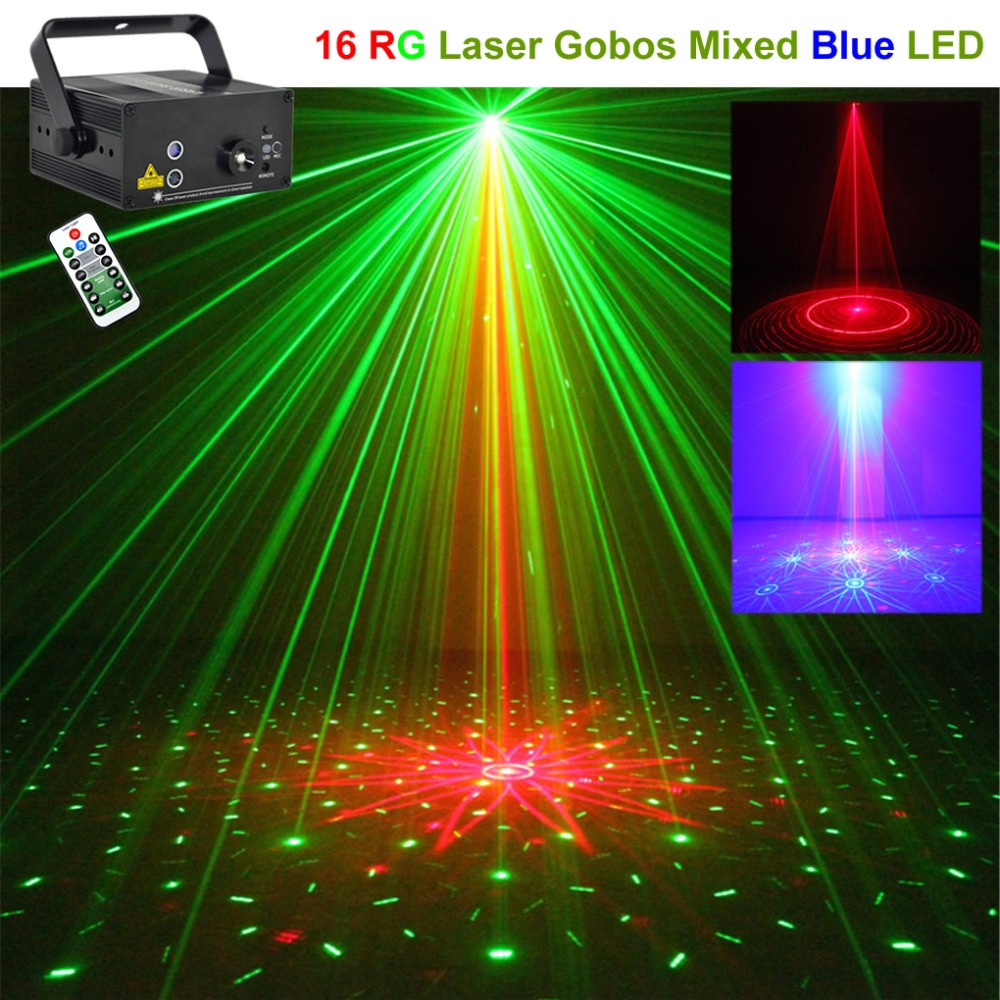Mini Remote Music 16 Pattern Red Green Laser Lights Projector Mixed 3W Blue LED Lamp DJ Club Home Party Show Stage Lighting 16RG цены онлайн
