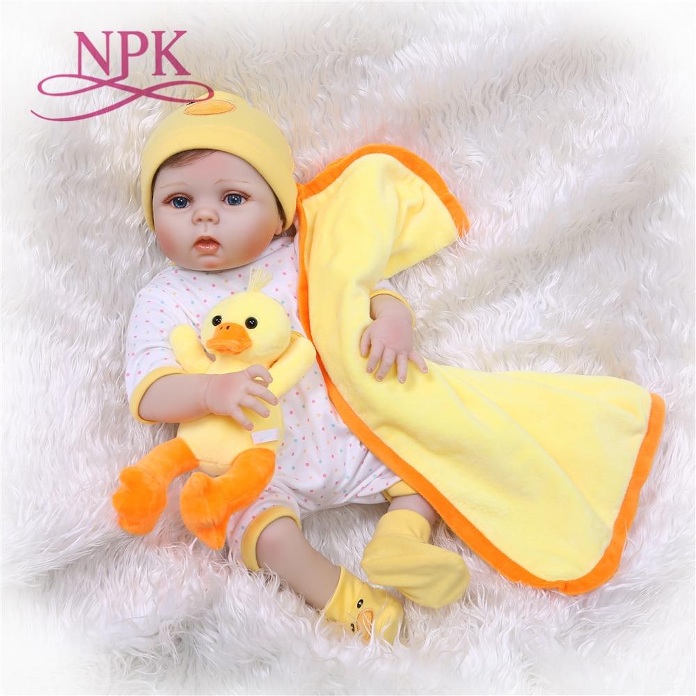 NPK 55cm full Silicone Reborn Dolls girl Baby Realistic Doll Reborn 22 Inch Full Vinyl Boneca