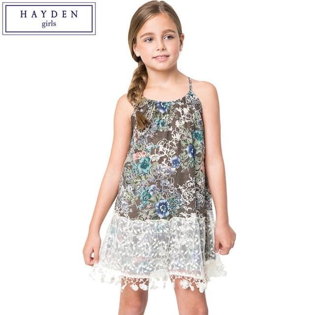 6659bf2c9 HAYDEN Girls Beach Dress New 2017 Summer Flower Print Strap Dress ...