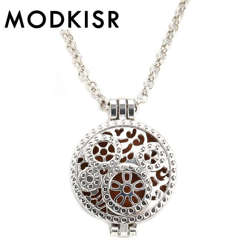 MODKISR Wholesale Sweet High Quality 30mm Fashion Elegant Delicate Versati Essential Oil Diffusing Necklace Aroma Locket Pendant
