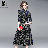 7ea1558275efb Spring Autumn Woman Dress Chinese Style Fashion Vintage Calf Length Golden  Leaf Pattern Embroidery Dark Blue