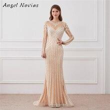 Angel Novias Luxury Long Sleeve Mermaid Evening Dress 2018