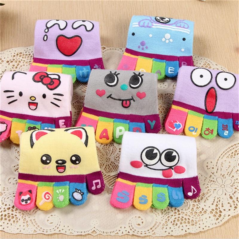 Новинка, Лидер продаж, женские носки с пятью пальцами, 5 пар/Лот, нескользящие носки с рисунком, хлопковые носки с разноцветными пальцами для ...