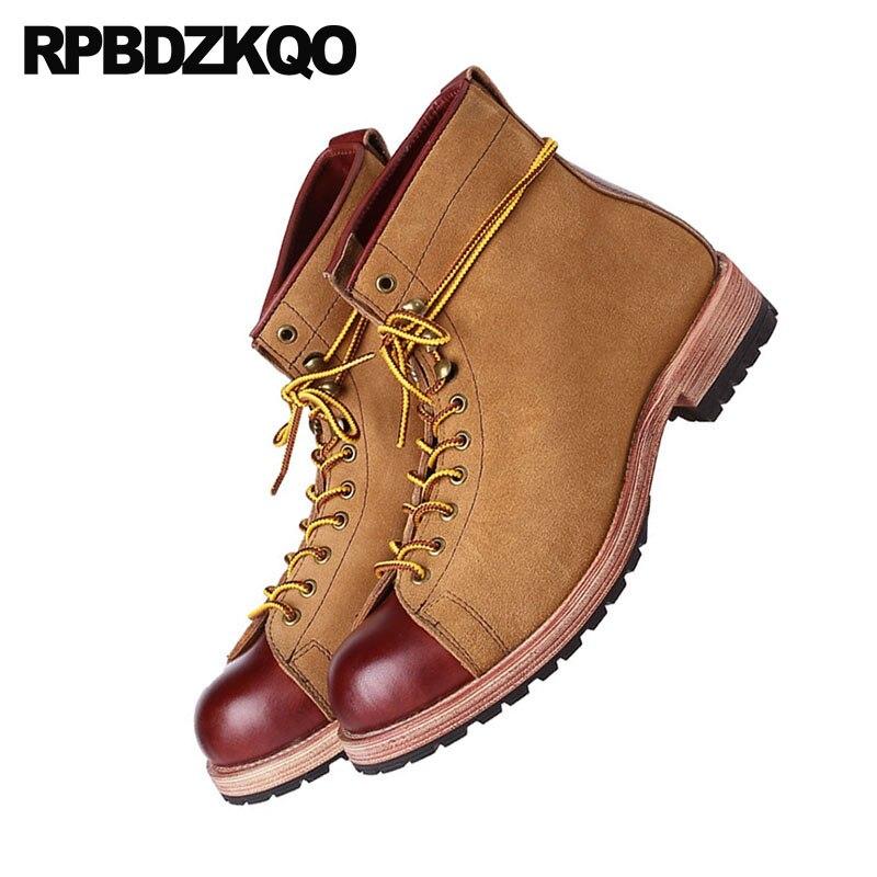 Grãos Queda Couro Luxo Tornozelo Outono Marrom 2018 Botas Até Camurça Alta Yellow Homens De Moda Rendas Sapatos Cheia Qualidade Retro Designer Brown WqSfHnXnp6