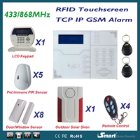 Remarkable 868MHz TCP IP Network Alarm System with RFID Touchscreen Keypad Alarm Panel, Android IOS APP Remote Control