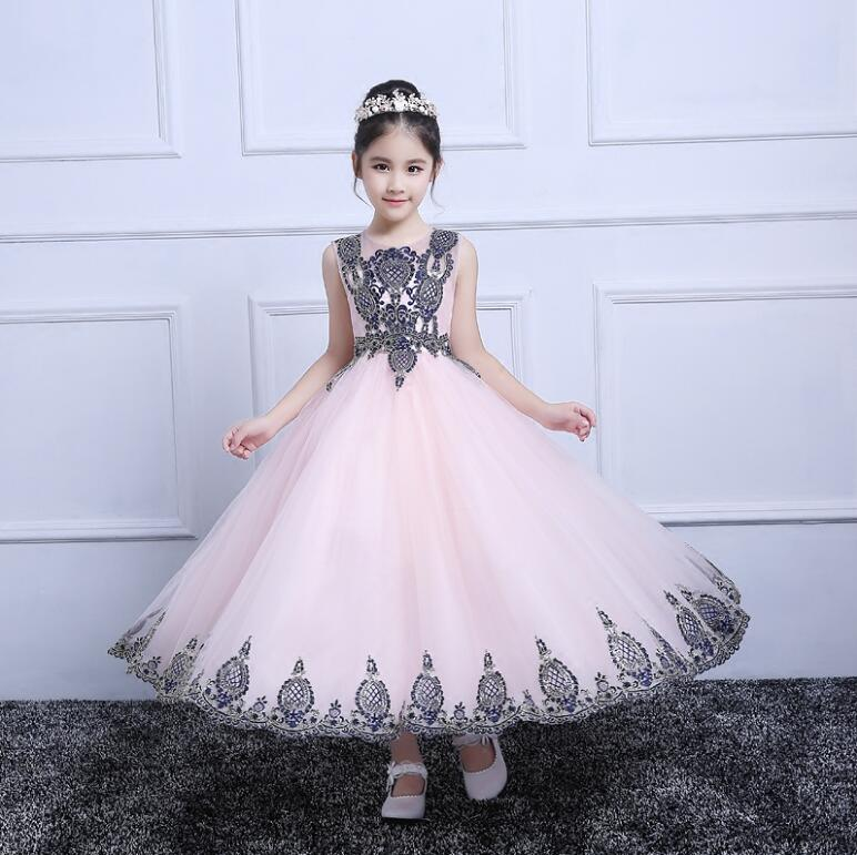 New Christmas Dresses for Girls Glitz Hidden Zipper Ball Gown Appliques Bow Sashes Birthday Flower Girl Dresses for Wedding 4pcs new for ball uff bes m18mg noc80b s04g