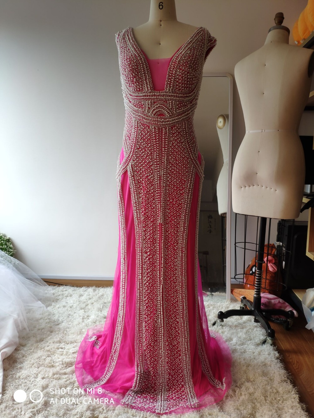 Настоящее фото цвета шампанского Русалка Вечерние платья с грушами развертки поезд блестящие вечерние платья Robe De Soiree в