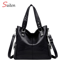 цена на High Quality Leather Women's Handbag Luxury Women Tote Bags Women Messenger Bag Patchwork Shoulder Bag Ladies Large-capacity Bag