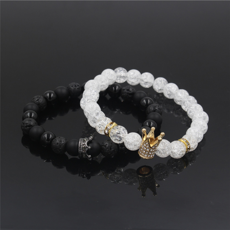 New 2Pc/Sets Natural 8/6mm Stone Beads Couple Bracelets for Women Micro Pave CZ Crown Charms Bracelet Men Jewelry Pulseras Mujer 9