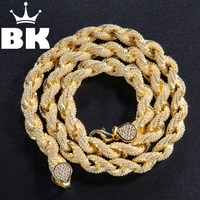 8mm Cubic Zircon Rope Link Necklace Gold Silver Plated Luxury Copper Micro Paved CZ Cuban Chain 16/18/20/22/24inch