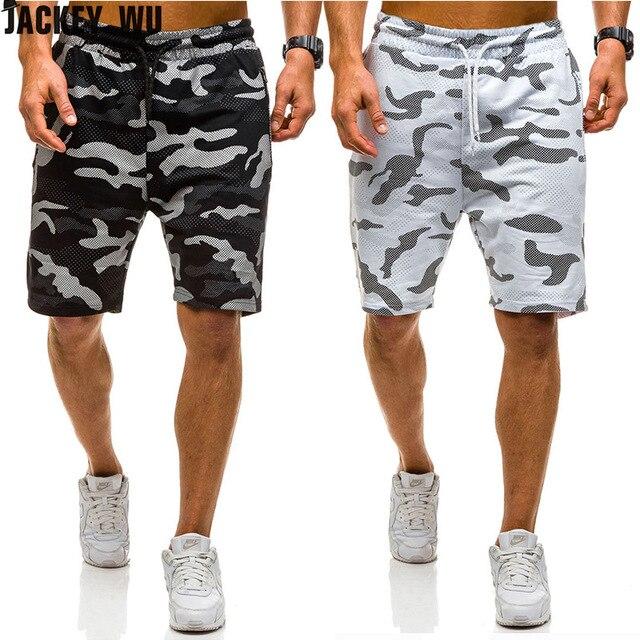 JACKEYWU מותג לוח מכנסיים קצרים 2019 אופנה הסוואה מודפס החוף קיץ לנשימה ספורט מכנסיים גברים של בגדים בתוספת גודל