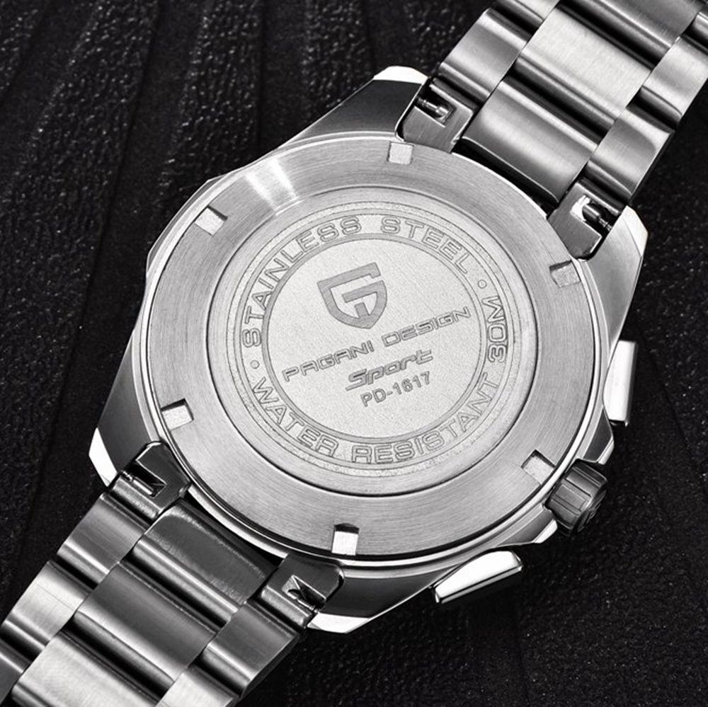 PAGANI DESIGN en acier inoxydable hommes montres marque de luxe chronographe Sport affaires étanche Quartz montre bracelet hommes horloge mâle - 5