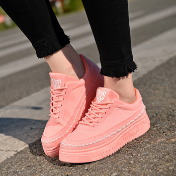 2019 New Spring Korean Pink Platform Sneakers Women Shoes Thick Sole Canvas Black Trainers Ladies Shoes Walking Chaussure Femme Сникеры