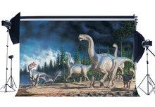 Dinosaure toile de fond jurassique période 3D décors Jungle forêt arbres effrayant dinosaure conte de fées dessin animé fond