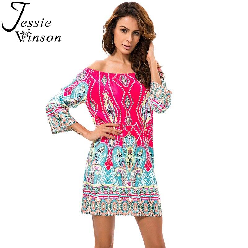 60e10b13e5 Jessie Vinson kobiety sukienka O-Neck Off the Shoulder lodu jedwabiu druku  krótki Beach Dress Vestidos