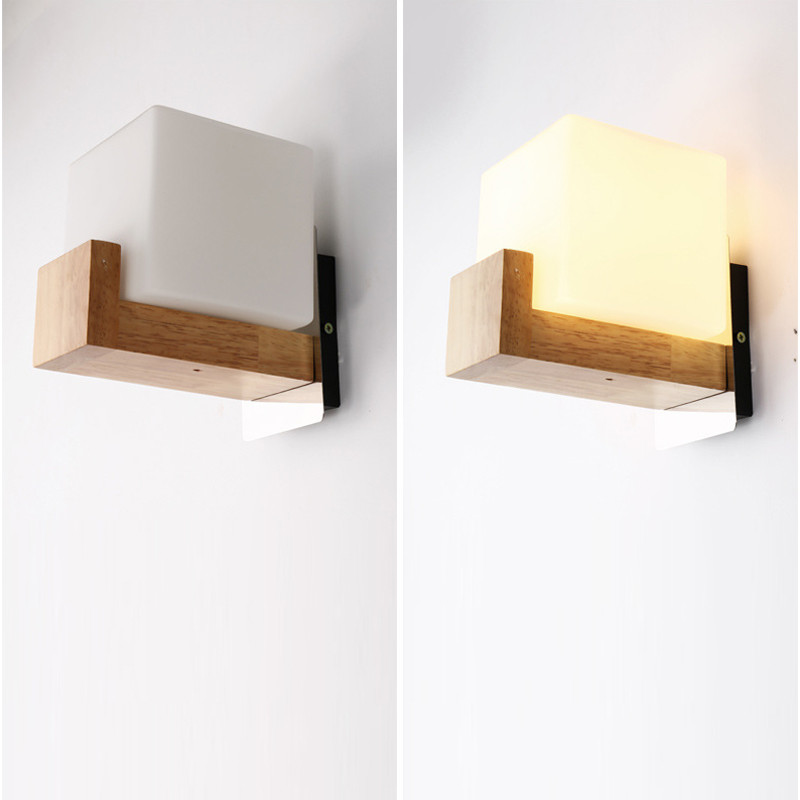 Modern Wooden Wall Lamp Light Square White Glass Bedroom Living Room Sconce Fixtures Lighting Lampara de pared de madera modern acrylic led wall lights bedroom bedside wall lamp lampara de pared bed room decoration lighting wall sconces