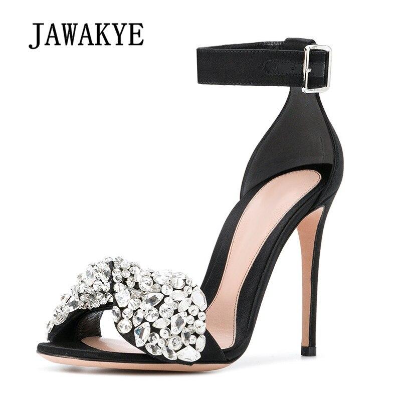 c3d6f0065 Heel Mujer 9cm Boda Zapatos 2018 Arco 7cm Satén Heel Heel Alto 9cm Strappy  Sandalias Gladiador Toe Diamante Tacón ...