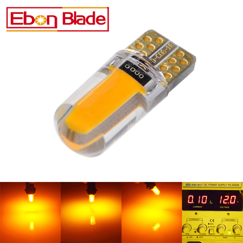 100Pcs T10 Yellow Amber Led W5W LED Lighting Marker Lamp Interior Instrument Light Warning Parking Clearance