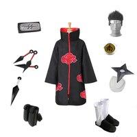 Brdwn NARUTO Akatsuki Hoshellogaki Kisame Ninja Cosplay costume (red cloud cloak+headband+shoes+Accessories)