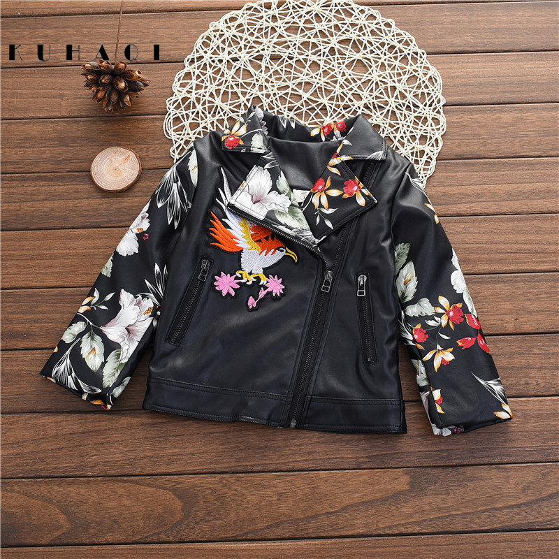 WENDYWU NEW Autumn Winter Girls Coats Boys PU Leather Jacket Thicken Casual Handwork Embroidery Children Outerwear BX8053