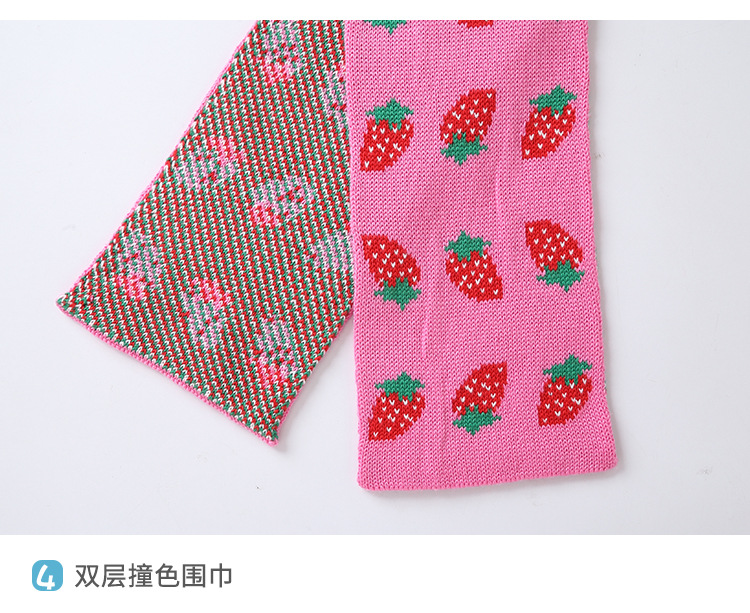 Autumn Winter Girls Scarf Strawberry Cotton Knitted Scarves Warm Kids Scarfs Hot Sale in Scarves from Mother Kids