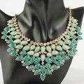 2014  Fashion Golden Green Drop Beads Bib Chokers Round Stud Pendant Necklace Costume Jewelry Wholesale