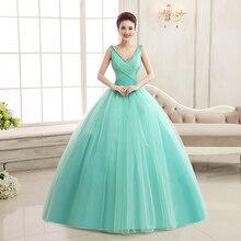 청록색 quinceanera 드레스 v 넥 라인 코르셋 볼 가운 드레스 15 년 동안 tulle quinceanera dress ruffles quinceanera jurk