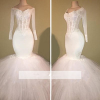 Plus Size Vestido De Noiva 2018 Muslim Wedding Dresses Mermaid V neck Long Sleeve Lace Dubai Arabic Wedding Gown Bridal Dresses
