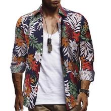 2019 New Large Size MenS Fashion Printed Casual Long-Sleeved Shirt Hawaiian