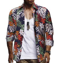 2019 New Large Size Men'S Fashion Printed Casual Long-Sleeved Shirt Hawaiian Shirt hollowed leaf printed hawaiian shirt