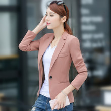 S-4XL New Women's Casual Blazer Coat Spring 2018 Fashion Elegant Solid color Button Slim Workwear Suits Tops Female Plus size
