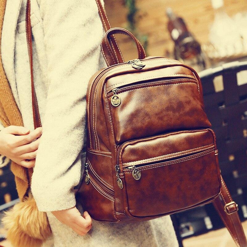 Aolen Women Fashion Designer Brand Backpacks Vintage Pu Leather Shoulder Bag Retro Small Lady Schoolbag Mochila